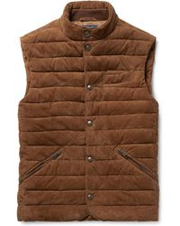 Polo Ralph Lauren - Slim-fit Quilted Suede Gilet - Lyst