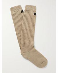 Fear Of God Logo-appliquéd Ribbed Cotton-blend Socks - Multicolour