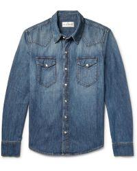 SALLE PRIVÉE Rohe Slim-fit Washed-denim Western Shirt - Blue