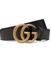 Gucci 3cm Leather Belt - Black