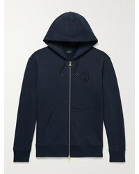 Dunhill Logo-embroidered Cotton-jersey Zip-up Hoodie - Blue