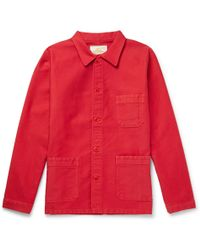 Le Mont St Michel Cotton-moleskin Chore Jacket - Red