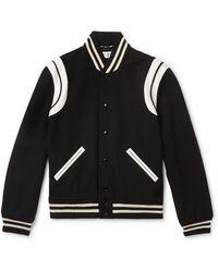 Saint Laurent Teddy Leather-trimmed Virgin Wool-blend Bomber Jacket - Black
