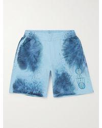 McQ Breathe Wide-leg Logo-appliquéd Printed Cotton-jersey Shorts - Blue