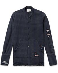 Greg Lauren - Slim-fit Distressed Patchwork Striped And Checked Cotton-twill Shirt - Lyst
