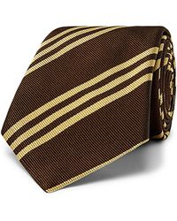 Brunello Cucinelli 7.5cm Striped Silk-jacquard Tie - Brown
