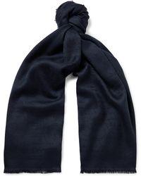 Berluti Scritto Cashmere, Silk And Wool-blend Jacquard Scarf - Blue