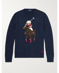 Polo Ralph Lauren Logo-embroidered Intarsia Cotton-blend Jumper - Blue