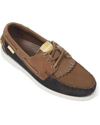 Universal Works Sebago Portland Colour-block Suede Kiltie Boat Shoes - Brown