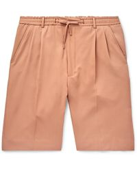 Cmmn Swdn Jayson Pleated Wool-twill Drawstring Shorts - Pink