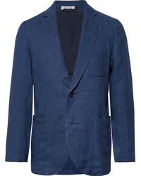 Blue Blue Japan Slim-fit Unstructured Indigo-dyed Linen-twill Blazer - Blue
