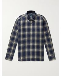 Peter Millar Button-down Collar Checked Cotton-flannel Shirt - Blue