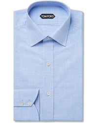 Tom Ford - Light-blue Slim-fit Puppytooth Cotton Shirt - Lyst