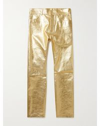 Givenchy Croc-effect Metallic Leather Trousers