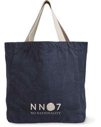 NN07 Logo-print Cotton-canvas Tote Bag - Blue