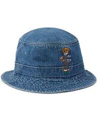 Polo Ralph Lauren Blue Teddy Bear Embroidered Denim Bucket Hat