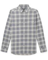Tom Ford Slim-fit Button-down Collar Checked Cotton Shirt - Gray