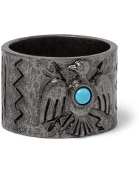 Valentino - Embossed Burnished Silver-tone Ring - Silver - Metallic