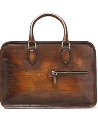 Berluti Un Jour Mini Scritto Leather Briefcase - Brown