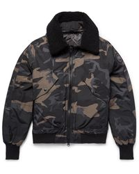 Canada Goose Bromley Shearling-trimmed Camouflage-print Canvas Down Bomber Jacket - Black