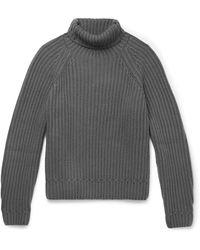 Berluti Ribbed Cashmere Rollneck Sweater - Grey