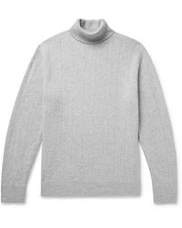 Club Monaco - Ribbed Mélange Wool And Cashmere-blend Rollneck Sweater - Lyst