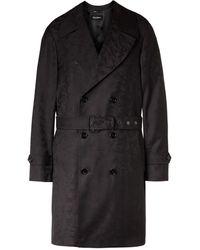 Dolce & Gabbana Camouflage-jacquard Virgin Wool-twill Trench Coat - Black
