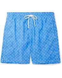 Anderson & Sheppard Slim-fit Mid-length Floral-print Swim Shorts - Blue