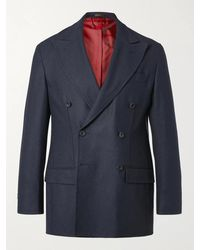 Rubinacci Double-breasted Cashmere Blazer - Blue