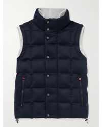 Kiton Slim-fit Quilted Cashmere Down Gilet - Blue