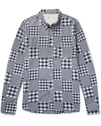 Universal Works - Button-down Collar Patchwork Checked Cotton Shirt - Lyst