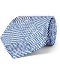 Emma Willis 8.5cm Prince Of Wales Checked Silk-jacquard Tie - Blue
