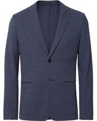 Theory | Blue Newson Slim-fit Checked Stretch Virgin Wool-seersucker Blazer | Lyst