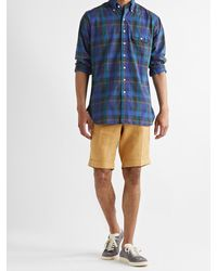 Drake's Button-down Collar Checked Cotton, Linen And Ramie-blend Shirt - Blue