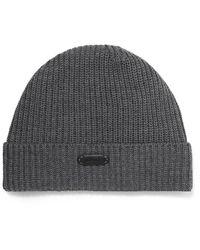 Brioni Ribbed Wool Beanie - Gray