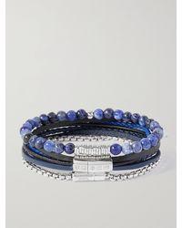 Tateossian Set Of Three Leather - Blue