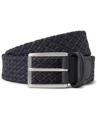 Andersons 3.5cm Storm-blue Leather-trimmed Woven Waxed-cotton Belt