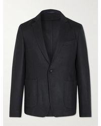 Officine Generale Unstructured Wool And Cashmere-blend Blazer - Blue