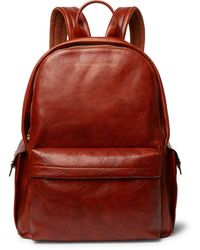 Brunello Cucinelli Suede-trimmed Burnished Full-grain Leather Backpack - Brown