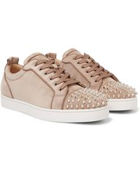 Christian Louboutin Louis Junior Spikes Cap-toe Suede Sneakers - Multicolour
