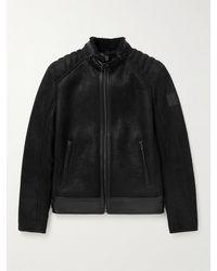 Belstaff Westlake Slim-fit Shearling-lined Full-grain Leather Jacket - Black