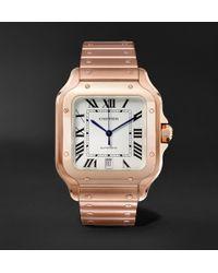 Cartier - Santos Automatic 39.8mm 18-karat Pink Gold Interchangeable Alligator Watch - Lyst