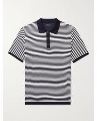 Theory Veran Striped Cotton-piqué Polo Shirt - Blue