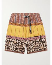 Kapital Wide-leg Patchwork Poplin Shorts - Yellow