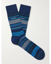 BOSS by Hugo Boss Striped Mercerised Cotton-blend Socks - Blue