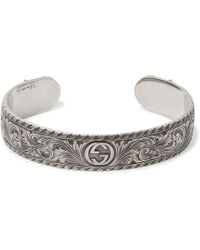 Gucci - Engraved Sterling Silver Cuff - Lyst