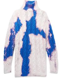 Balenciaga Oversized Cable-knit Cotton Rollneck Sweater - White