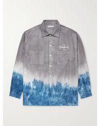 Flagstuff Logo-embroidered Dip-dyed Cotton Shirt - Grey