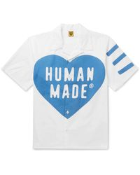 Human Made Camp-collar Logo-print Cotton-poplin Shirt - Blue