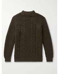Kingsman Cable-knit Wool And Cashmere-blend Jumper - Green